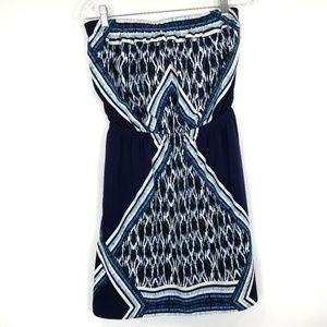 EXPRESS Strapless Geometric Print Blue Dress